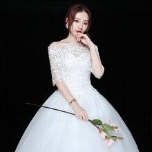 Cheap Wedding Dress 2019 Lace Half Sleeve Boat Neck Princess Gown Vestido De Noiva 100% Real Photo Appliques Robe Mariage
