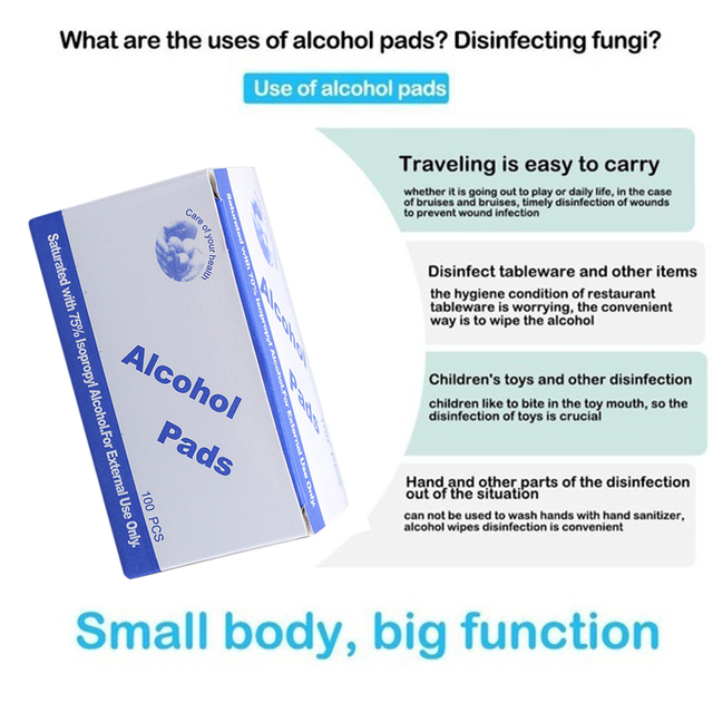 50/100 Pcs Alcohol Wet Wipe Disposable Disinfection Prep Swap Pad Antiseptic Skin Cleansing Care Wipe Portable Healthy Care 3