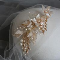 Bridal Hair Jewelry Flower Leaf Headpiece Vintage Gold Hair Pin Stick Pearl beads Crystal Hairpin Headdress Wedding Accessories