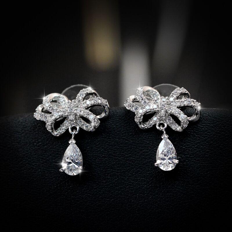 Fine Delicate 925 Sterling Silver Needle Cubic Crystal Earrings Jewelry Butterfly Bow Knot Stud For Women brincos Gift