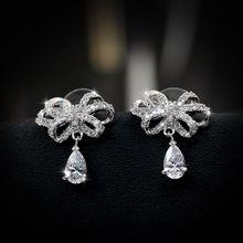 Fine Delicate 925 Sterling Silver Needle Cubic Crystal Earrings Jewelry Butterfly Bow Knot Stud Earrings For Women brincos Gift