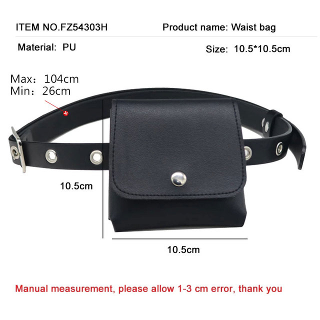 Women Fashion Waist Pack PU Fanny Pack Simple Women's Gift Belt Bag Phone Chain Bags For Lady Casual Pack Female Purse Black 2