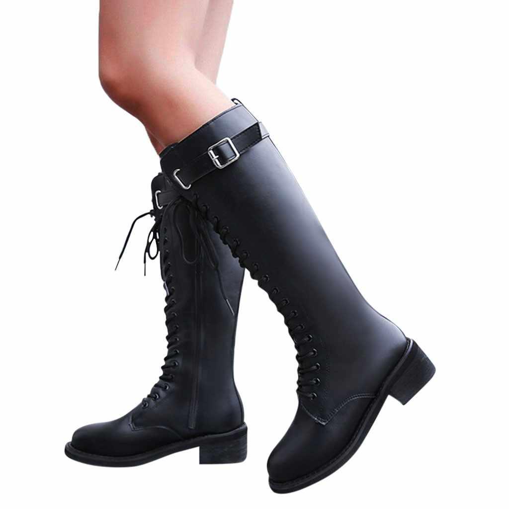 ฤดูหนาว 2019 ขายร้อนผู้หญิงฤดูหนาว Warm ด้านล่าง-เข่า-ความยาวสีดำ Punk Cool หัวเข็มขัดซิป Elegant Classic รองเท้าสำหรับสตรี