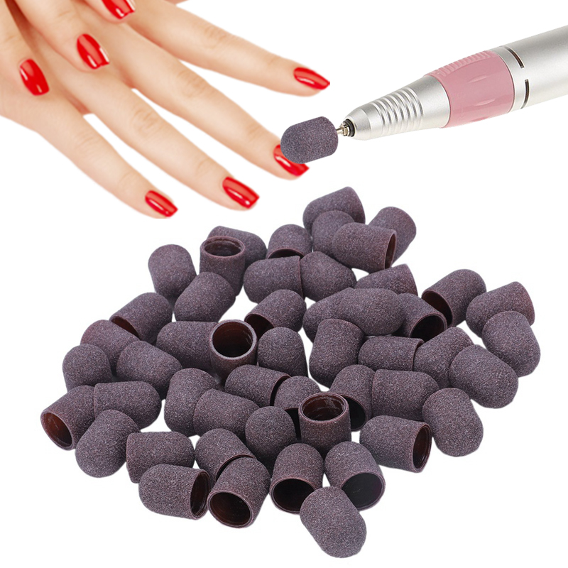 50Pcs Sanding Bands Block Caps Without Grip 80# 120# 180# 13x19Mm Sanding Cap Manicure Pedicure Electric Nail Drill