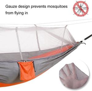 Image 4 - Camping/garten Hängematte mit Moskito Net Außen Möbel 1 2 Person Tragbare Hängen Bett Festigkeit Fallschirm Stoff Schlaf schaukel
