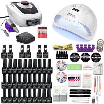 Nail Set With Display 35000RPM Nail Drill Machine Nail Lamp 30/20 Gel Nail Polish Kit manicure tools