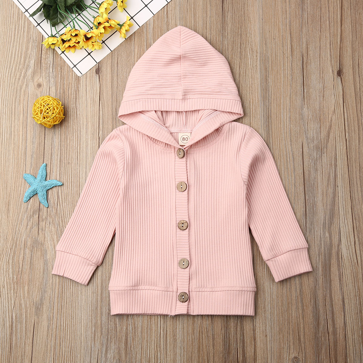Pudcoco Newborn Baby Girl Clothes Long Sleeve Solid Color Knitted Cotton Button Hooded Warm Coat Outwear Clothes Autumn