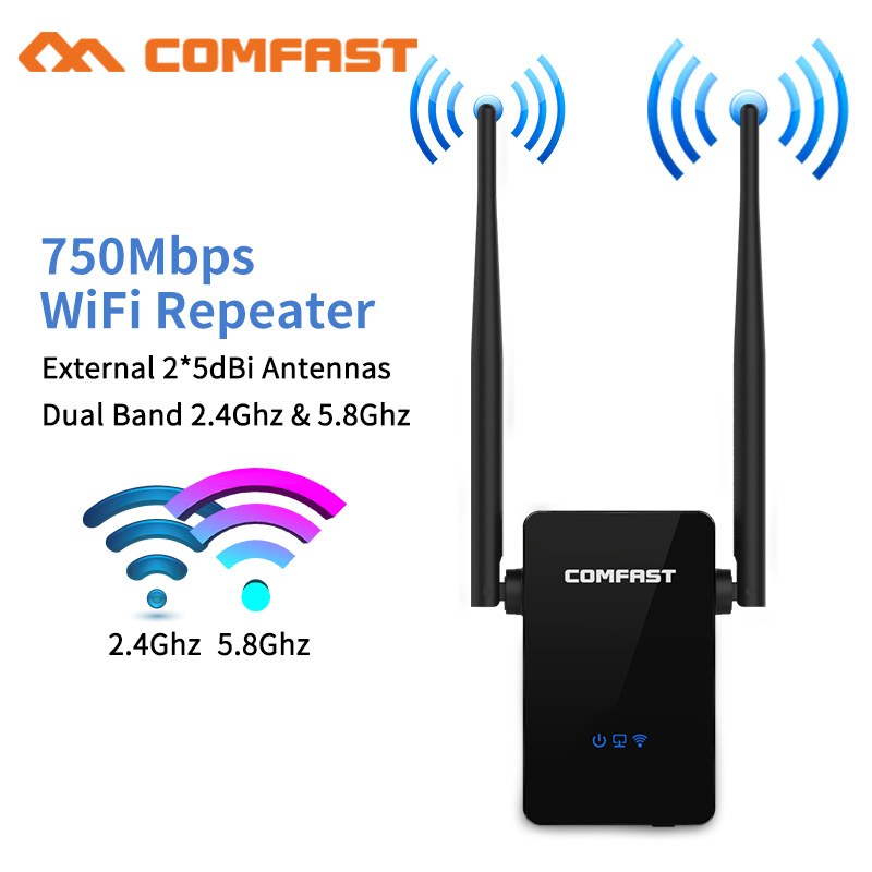 750Mbps Comfast Dual Band 2.4+5 Ghz Wireless Wifi Router High Power Wifi Repeater Wifi Extender Long Range Wlan Wi-fi Amplifier