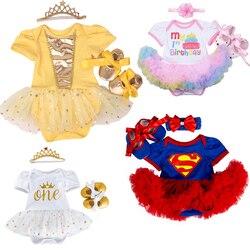 Костюм для новорожденных девочек на первый день рождения, комбинезон, детская одежда, комплекты платья с Минни, 3 предмета, одежда для малыше...