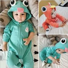 Симпатичные Лягушка наушник комбинезон для детей, одежда для мальчиков и девочек, Ползунки для новорожденных однотонные Цвет цельнокроена...