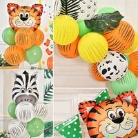 12 unids/set estampado Animal vaca Tigre cebra leopardo globos de látex de La Selva tema cumpleaños decoración de fiesta de verano suministros de baño para bebé