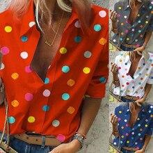 2020 Spring Women Bohemia Dot Print Blouse Pull Blusas Casual Tops Ladies