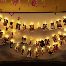 Photo Clip Lamp String USB Battery Dual-Use LED Light String Photo Holder Girl Room Decor Home Wall Window Decor Photo Folder