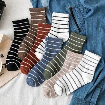 Harajuku Cool Skateborad Short Stripe Sock Art Fashion Cotton Hipster Casual Colored Ankle Socks Female Girls Winter Tube