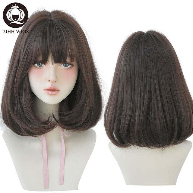 7JHH Pink Linen Short Straight Hair Lolita Wig With Bangs Synthetic Wigs For Women Christmas Cosplay Heat Resistant Glueless Wig