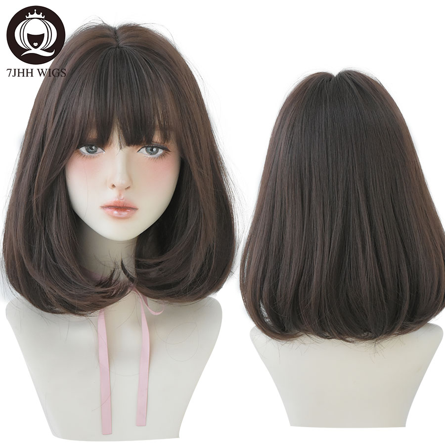 7JHH WIGS Natural Comfortable Synthetic Wig for Women Black Shoulder Straight Hair 14 Inch Fashion Hairstyle Wig