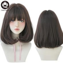 Парики 7JHH, натуральный удобный синтетический парик для женщин, черные прямые волосы на плечах, модный парик 14 дюймов