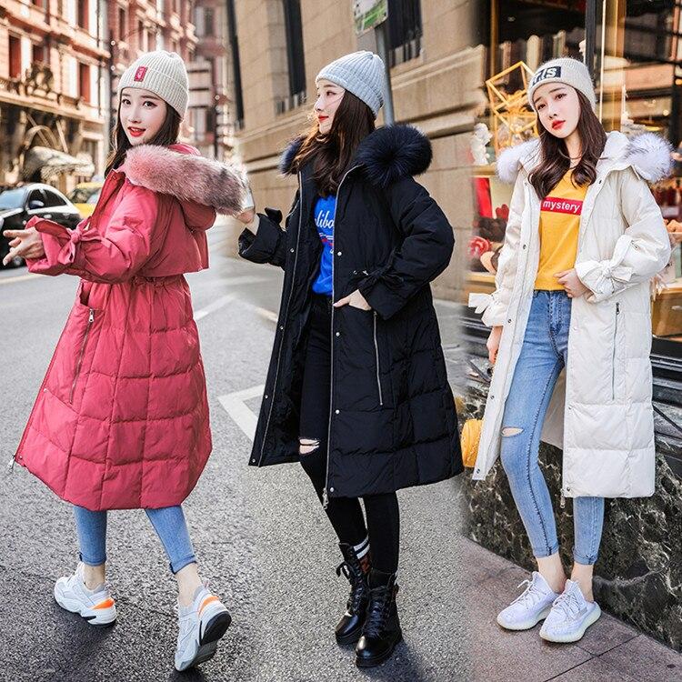 AYUSNUE Women's Down Jacket Long Puffer Winter Coat Women Korean Big Fur Collar Warm Doudoune Femme Hiver 2020 231569 KJ3100