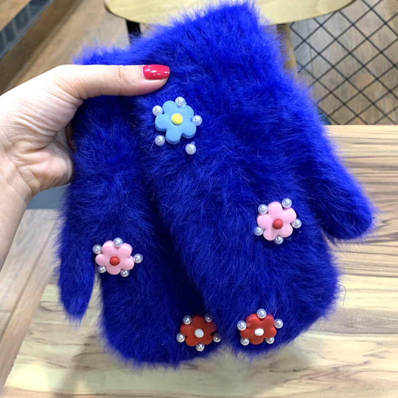 Gloves Winter Lovely Flower With Pearl Full Finger Mittens Rabbit Fur Gloves Female Double Warm Gloves  Guantes