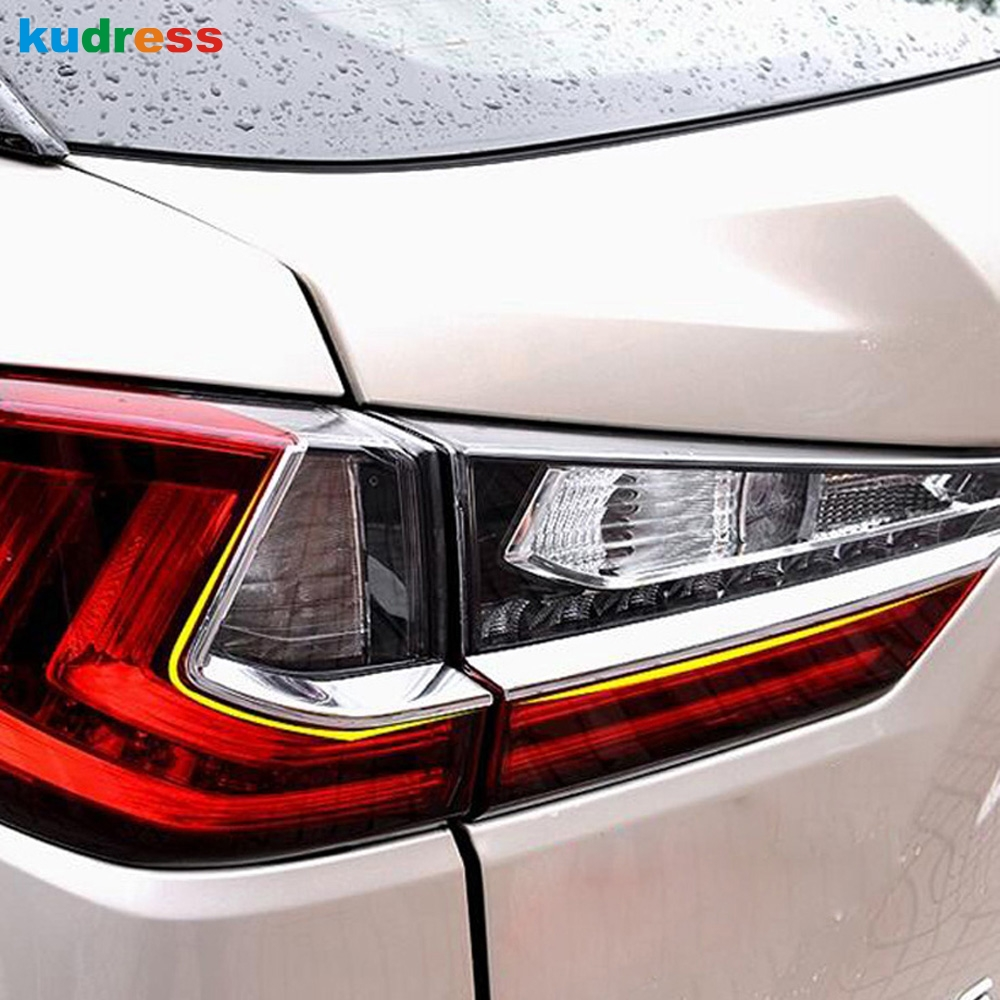 For <font><b>LEXUS</b></font> <font><b>RX</b></font> 2016 <font><b>2017</b></font> ABS Chrome back Light Tail Lamp hoods Eyebrow Trim Plastic Frame outside mouldings Stickers shell image