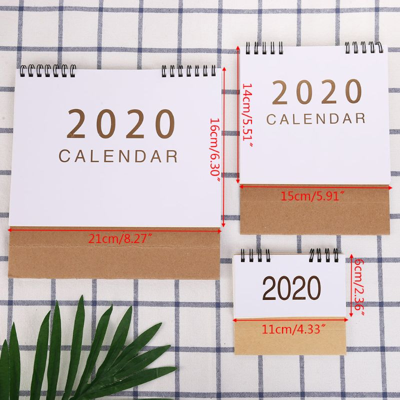 Simple Desktop Standing Paper 2020 Double Coil Calendar Memo Daily Schedule Table Planner Yearly Agenda Desk Organizer