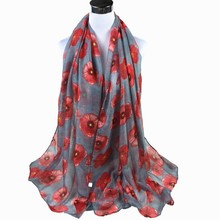 Scarf Flower Beach-Wrap Poppy Ladies Shawl Print Fashion Red Sunscreen -1007 Cheaper