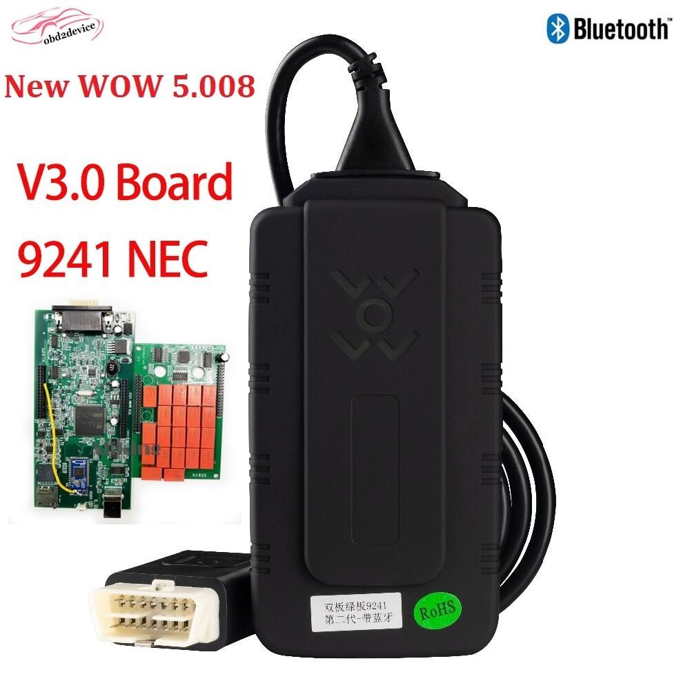 Новый V3.0 W0W 5,008 R2 9241NEC диагностики wow с Bluetooth (голубой зуб), Бесплатная keygen для мульти от бренда Авто диагностический сканер автомобильный инст...