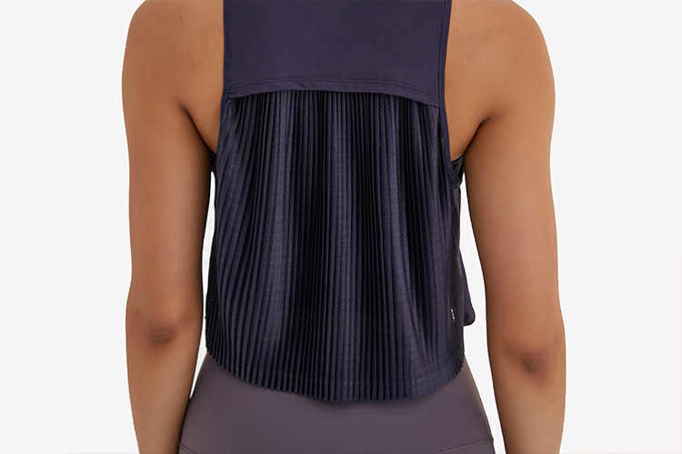 Nwt Pleats Hoge-Hals Yoga Fitness Tank Tops Vest Vrouwen Losse Fit Sneldrogende Workout Athletic Crop Top Mouwloos shirts