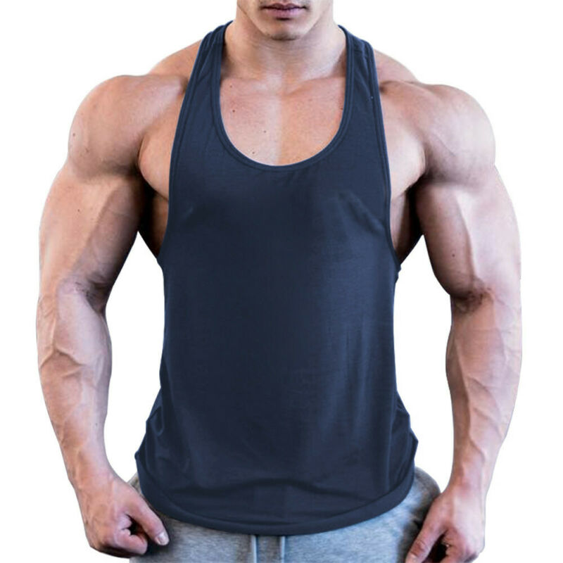 Hirigin Men Casual Sleeveless Gym Muscle Solid Loose Cotton Shirt Tank Top Sports Bodybuilding Fitness Athletic Vest
