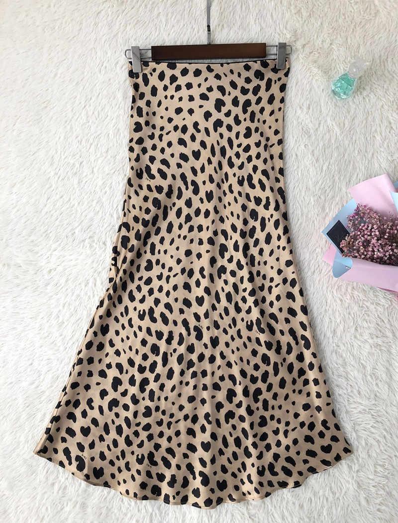 Women Silk Satin The Naomi Wild Things Leopard Print Sexy Elastic High Waist Easy 90's Slip Midi Skirt