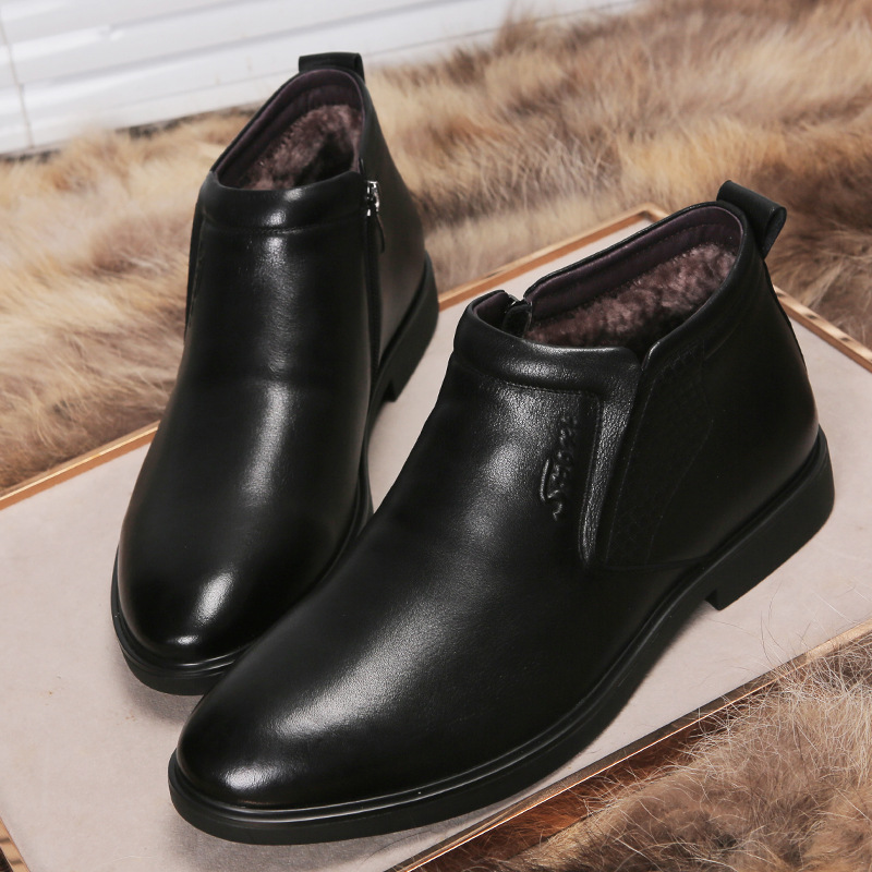 Image 2 - Genuine Leather men winter boots Ankle Boots Fashion Footwear  boot shoes men Casual High Top Men Shoes zapatos de hombreChelsea Boots   -