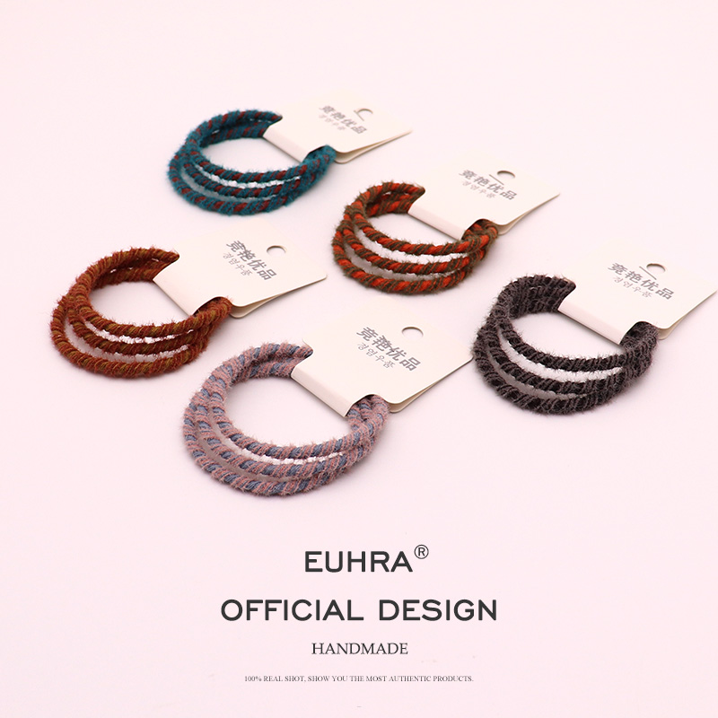 EUHRA 3 Pieces Classic Style Plush Mixed Color Winding Elastic Hair Bands Girls Women Kid Children Rubber Bands(China)