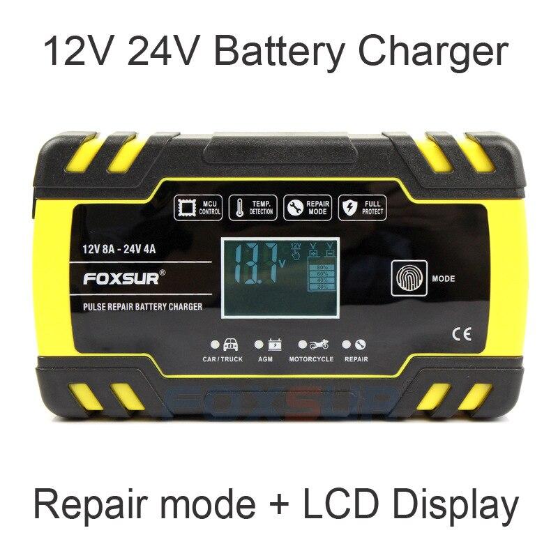 Carregador de bateria de carro automático completo 12v 8a 24v 4a reparação de pulso display lcd inteligente carga rápida agm ciclo profundo gel chumbo-ácido carregador