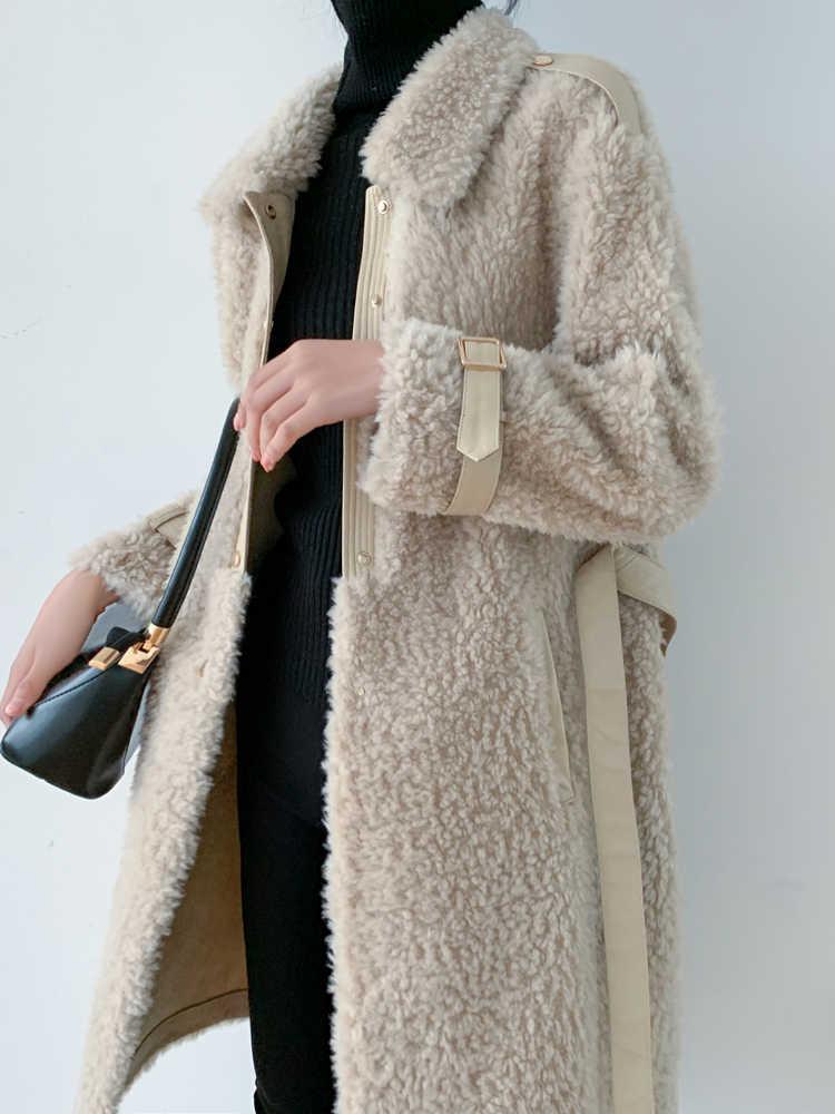 Женское пальто с натуральным мехом, винтажная длинная куртка для стрижки овец, женская одежда 2020, корейская мода, 100% шерстяное пальто, топы Hiver 1992