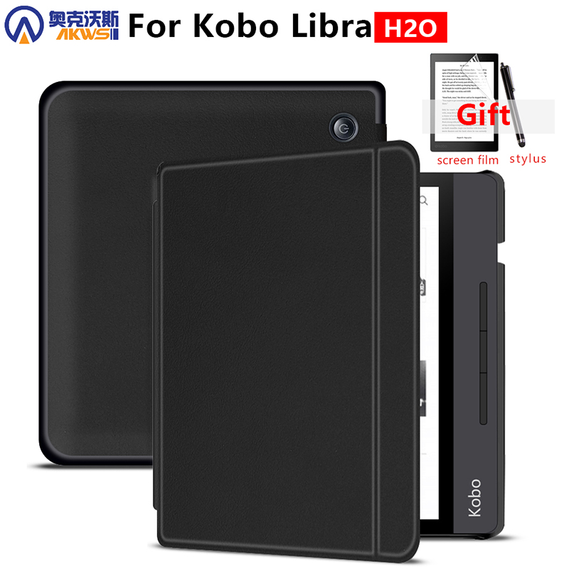 Case For All-new Kobo Libra H2O 7 Inch 2019 E-Books Premium PU Leather Hard Shell Cover With Auto Sleep/Wake
