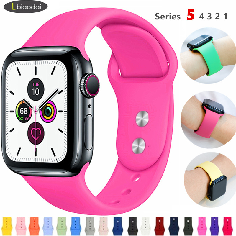 Silicone Strap For Apple Watch 5 Band 44mm 40mm IWatch Band 42mm 38mm Watchband Belt Bracelet Apple Watch 4/3/2/1 40 44 42 38 Mm