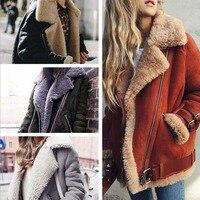 Women Fashion Winter Sherpa Bubble Coats Warm Lapel Collar Parkas Coat Lady Furry Cardigan Female Woolen Jackets with Pocket