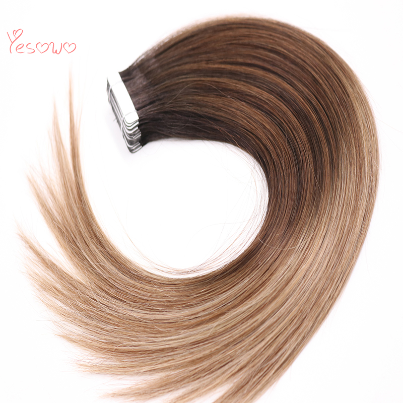 Yesowo Malaysian Remy Human Tape On Hair Ombre Cheap Fashion 1b/6/27# African American Hair Extensions Tape Adhesive