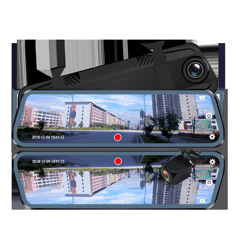 Câmera Do Carro Dvr 10 E-ACE Polegada Streaming Espelho Retrovisor Traço Cam Gravador de Vídeo FHD 1080P Auto Secretário Com Traseira câmera de visão