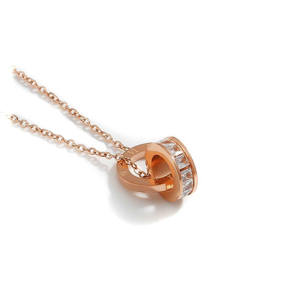 Wantobuy okrągły Hollow naszyjnik dla kobiet różowe złoto ze stali nierdzewnej biżuteria ze stali nierdzewnej Temperame błyszczące cyrkonie łańcuch geometryczny naszyjnik