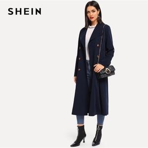 Image 4 - SHEIN 海軍圧延タブスリーブダブルブレストベルト延縄女性の秋ポケットエレガントな Highstreet 上着コート