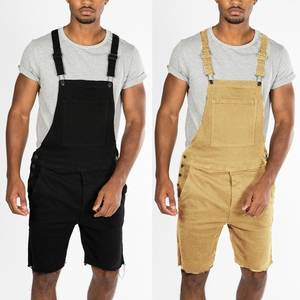 2019 New Style Retro Men Cowboy with Holes Shorts One-piece Working Bib Top Pants