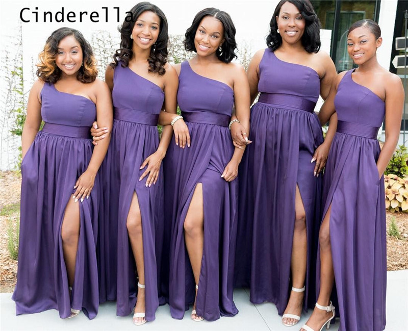 Cinderella Purple Color One Shoulder Side Slit A-Line Chiffon Bridesmaid Dresses Lovely Wedding Party Bridesmaid Dresses