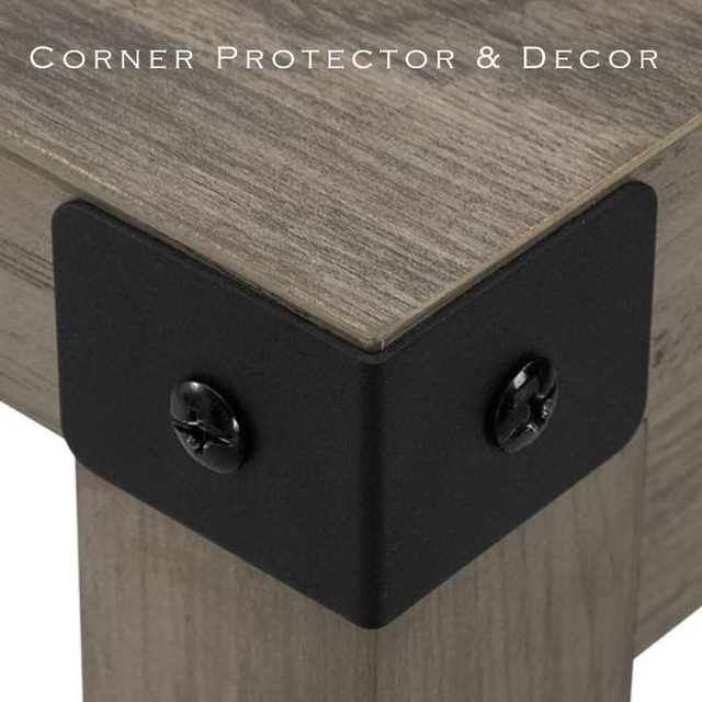 Black and Bronze Color Options Iron metal corner Bracket protector with free screws for Table or Cabinet Top Panel Leg etc
