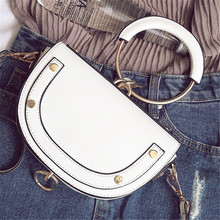 2019 New Metal Portable Handle Semi-circle Dumplings Package Trend Female Semi-circular Shoulder Bag
