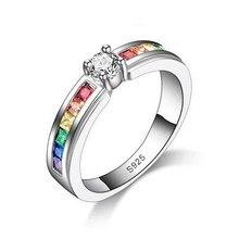 Bagues de fiançailles pour femmes, couleur arc-en-ciel, en zircone cubique, bijoux fins de luxe, 2021
