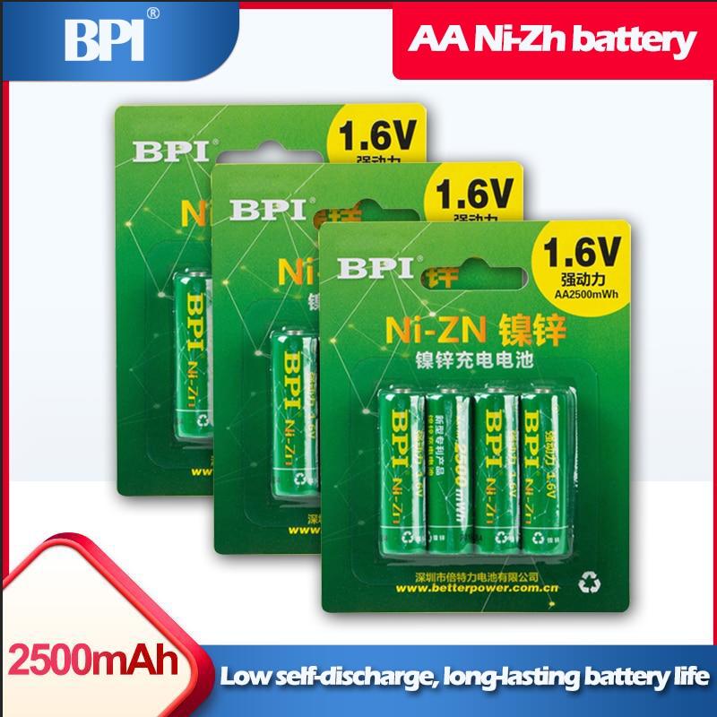 12 pièces/lot BPI AA 2500mWh 1.6V ni-zn NIZN batterie Rechargeable pour jouets appareil photo numérique machine à traire gamepad microphones souris