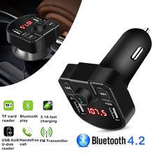 Kit mains libres FM LED 4,1 A bluetooth flambant neuf, transmetteur à 2 interfaces USB 3,1 A, 1 A, lecteur de musique MP3, compatible avec tout téléphone