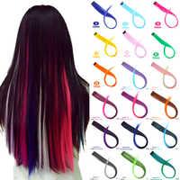 MEIFAN długie proste kolorowe splotki do włosów kolorowe treski włosy clip in Streak tęczowe włosy przedłużanie włosów akcesoria
