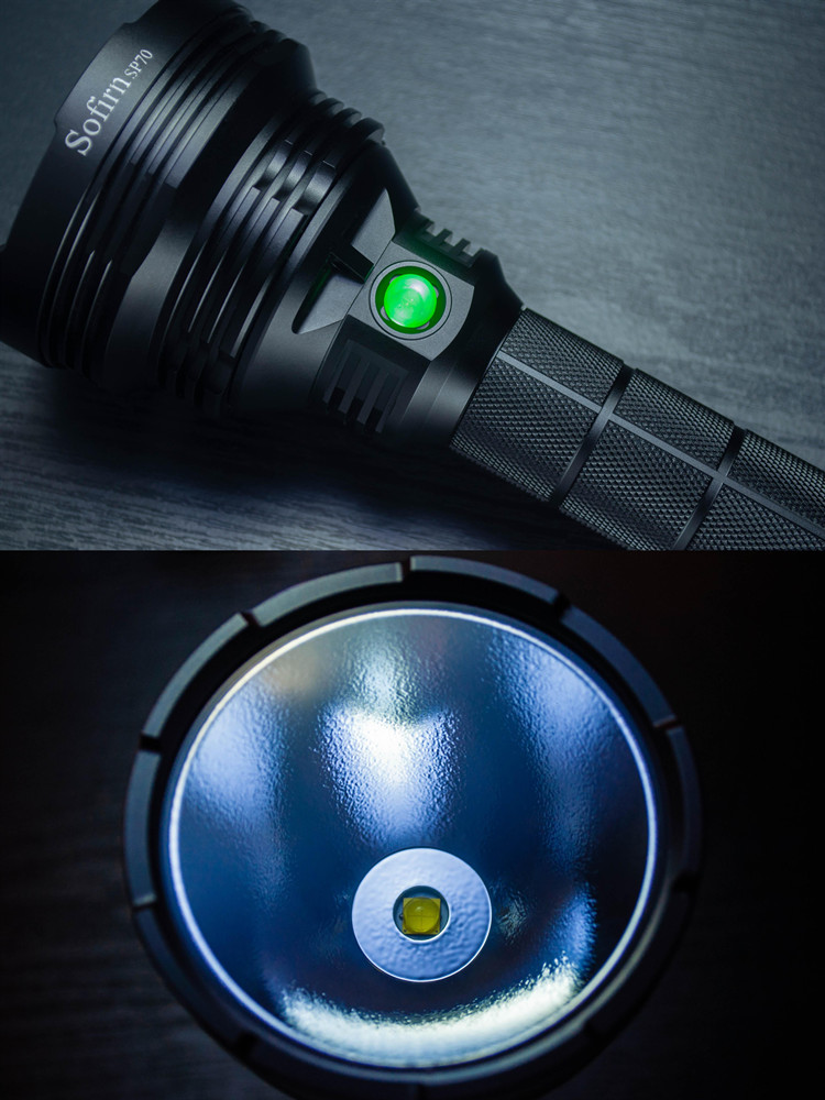 Sofirn LED Flashlight High-Power Tactical Cree Xhp70.2 26650 with ATR 2-Groups/ramping